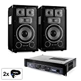 PA Set Saphir Series Warm Up Party TX8 200 Watt High End PA Lautsprecher Verstärker Set (2x 100W RMS PA-Box, Bassreflexgehäuse, Stativ-Flansch, Filzbezug, Lautsprecherschutzgitter aus Metall, Tragegriffe, inkl. 2 Lautsprecherkabel & 800W Rack-Endstufe)