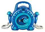 Idena 40104 - Kinder CD Player SING A LONG mit 2 Mikrophonen und LED Display, blau