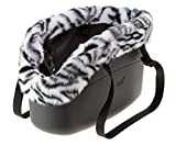 Ferplast 79515017 Hundetragetasche With-Me Winter, aus innovativem EVA Gummi, Mit Felleinsatz, 21,5 x 43,5 x 27 cm, schwarz
