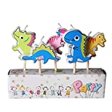 5er Pack Paraffin Cartoon Kinder Kinder Geburtstag Party Kuchen Kerze Dekoration mit Holzstab Dinosaurier