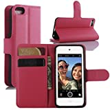 iPod Touch 5 / 6 Hülle, iPod Touch 5G / 6G Hülle, HualuBro [All Around Schutz] Premium PU Leder Wallet Flip Handy Schutzhülle Tasche Case Cover mit Karten Slot für Apple iPod Touch 5 / 6 Generation Smartphone (Rose)