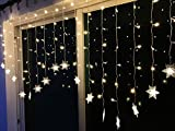 BLOOMWIN Lichtervorhang Schneeflocken 2*1M Warmweiß 8 Modi, 104 LED 220V Snowflake Curtain Light Eiskristall Weihnachtsbeleuchtung für Innenwand, Hochzeit, Party, Weihnachten