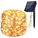 Solar Lichterkette 200 LED Hiluckey 72ft 8 Modes Solar Outdoor Lichterkette led lichterketten mit Kupferdraht wasserdicht Outdoor Lichterkette für Garten, Terrasse, Baum Dekorationen 21 Meters Baum Dekorationen – Warmweiß