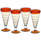 4er Set, Eiscremeglas, Eisbecher, Eisschale ~ORANGE~ orange, 20 cm, Glas (GELATO VERO powered by CRISTALICA)