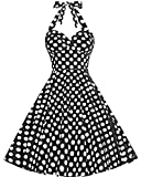 Bbonlinedress Neckholder 50er Vintage Pinup Retro Rockabilly Kleid Cocktailkleider Black S