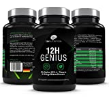 12H Genius - Premium Brain Booster - 90 Kapseln für Konzentration in Job & Studium - 100% Vegan mit Guarana & Alpha GPC