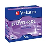 Verbatim DVD+R Rohlinge 8x Double Layer 8,5GB Jewel Case 5er Pack kratzfest