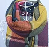 HuntGold Frauen Winter Warm Bunte Plaid Pashm Strickwolle Quasten Schals Wraps Schal