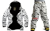 South play Mens wasserdichte weiße Camo Military Design Ski-Snowboard-Jacke Schwarze Hosen SET (Large)
