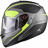 Black Optimus SV Tour Motorrad Roller Klapphelm M Matt Black Safety Yellow