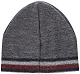 Tommy Hilfiger Herren Strickmütze Knitted Corporate Stripe Edge Beanie Grau (Silver Fog Heather 005), One size (Herstellergröße: OS)