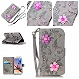 S6 Edge Plus Hülle,S6 Edge Plus Case,Cozy Hut  Ultra Slim Flip Lederhülle / Ledertasche / Hülle / Case / Cover / Etui / Tasche für Samsung Galaxy S6 Edge Plus / 3D Diamant Strass Bling Glitzer Schmetterlings-Blumen Muster, Pu Leder Wallet Case Flip Cover Hüllen Schutzhülle Etui Ledertasche Lederhülle Handy Tasche Schale mit Standfunktion für Samsung Galaxy S6 Edge Plus Traumfänger Dream Catcher - grau Butterfly flowers