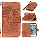 iphone 5 / 5S / SE Hülle, iphone 5 / 5S / SE Case, Cozy hut iphone 5 / 5S / SE (4,0 Zoll) Drucken(Reiche Blumen)PU Ledercase Tasche Hüllen Schutzhülle Scratch Magnetverschluss Telefon-Kasten Handyhülle Standfunktion Handycover Solide Rose - Rose Brown