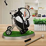 World 9.99 Mall Golf Geschenk, Mini Office Golf Pen Halter mit 3 Sets Aluminium Alloy Golf Stifte