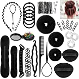 ivencase 28pcs Haare Frisuren Set,Haar Zubehör styling set,Hair Styling Accessories Kit Set Haar Styling Werkzeug, Mädchen Magic Haar Clip Styling Pads Schaum Hair Styling tools für DIY