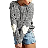 Eleery Damen Einfabrig Pullover Winter Herz Arm Warm Lose Casual Outwear Mantel Wolljacke Strickpullover