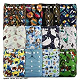 LittleBloom, Reusable Pocket Cloth Nappy, Fastener: Popper, Set of 12