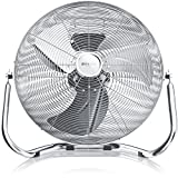 Brandson - Retro Windmaschine 120W / Ventilator in Chrom (Retro-Design) | Standventilator 50cm | Tischventilator / Bodenventilator | stufenlos neigbarer Ventilatorkopf | aus Vollmetall (verchromt)
