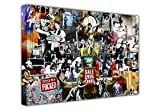 Banksy Leinwanddruck, Collage aus Druck, Graffiti, Best of Banksy, horizontal 8- A1 - 24' X 30' (60CM X 76CM)