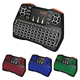 Mini Tastatur Beleuchtet (92 Tasten DE QWERTZ) mit Touchpad 2.4GHz Wireless Keyboard für Smart TV, HTPC, IPTV, Android TV Box, XBOX360, PS3, PC, etc (Deutsche Tastatur)