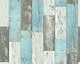 A.S. Création Tapete Faro in Vintage Holz Optik 10,05 m x 0,53 m blau creme grau Made in Germany 962461 96246-1