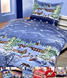 Winter Flausch Bettwäsche Weihnachten Motive Microfaser Thermo Fleece, 2x 135x200 cm + 2x 80x80 cm X-Mas Landschaft