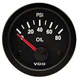 VDO Vision Black 80 PSI Oil Pressure Gauge - Use with VDO Sender - 12V