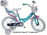 Disney Fahrrad 16 Zoll Mädchen Frozen 2 Bremsen Tür Hupe hinten + Helm Fahrrad Kinder...