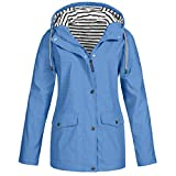 yazidan Outdoorjacken Damen, Damen Outdoorjacken Wasserdichter Regenjacke Regenmantel mit Kapuze Windbreaker Übergangjacke Lange Jacke Mantel Atmungsaktiv Leichter Mantel Funktionsjacke