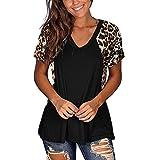 Sonojie Damen V-Ausschnitt Sweatshirt, Loose Kurzarm mit Leopard Motiv Casual Kurzarm...