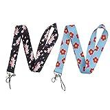 2 x Umhängeband mit frischem Blumen-Muster, Ausweis, Handyanhänger, Schlüsselband für...