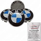 Satz von 4 Radnabenabdeckung kompatibel BMW - Blau und Weiß, Classic, 68 mm Durchmesser -...