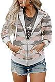 Fivyote Damen-Kapuzenjacke mit Reißverschluss, langärmlig, S-XXL - - Medium