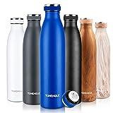 Trinkflasche Edelstahl, Wasserflasche BPA-Frei, Auslaufsichere Thermosflasche-24 Std Kalt...