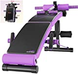 HSBAIS Hantelbank Verstellbarer, Universale Fitness Bank Multifunktion Sit-ups Bank Training Flachbank für zuhause Krafttraining,Purple