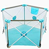 Tragbare Kids Safety Play Center Yard Startseite Indoor Zaun Anti Fall Laufstall Blau Indoor & Outdoor Spielraum (Color : Blue)