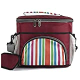 HO-TBO Picknick-Tasche, Große weiche Kühltasche Isolierte Lunch Box Picknick Kühl Tote Mit Dispensing Deckel Tragbares Outdoor-Tisch & Picknickgeschirr (Color : Dark red, Size : 28x24x21cm)