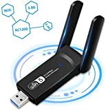 WLAN Adapter 1200Mbit/s, WiFi Stick mit 2*Antenna USB 3.0 WiFi Dongle (5G&867Mbit/s+2.4G&300Mit/s) für PC/Desktop/Laptop Unterstützung Windows XP/Vista/7/8/10 Mac OS 10.5-10.15 Einfache Installation