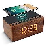 ANJANK Digitaler Radiowecker aus Holz mit Kabelloser Ladestation,10W Fast Wireless...