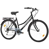 Multibrand Distribution Probike 26 City Zoll Fahrrad 6-Gang Urbane Cityräder for Heren, Damen, Unisex 455mm (Schwarz)
