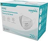 EUROPAPA 20x FFP2 Atemschutzmaske 5-Lagen Partikelfiltermaske hygienisch einzelverpackt...