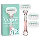 Gillette Venus Deluxe Smooth Sensitive Rasierer Damen, Damenrasierer + 3 Rasierklingen mit...