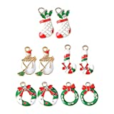 chiwanji 10x Alloy Crystal Enamel Xmas Charms Pendants for DIY Kids Hair Accessories