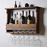 Antikes Weinregal Aus Holz Zur Wandmontage Mit Glasablage Antikes Weinregal, Ideal Zum Aufbewahren Von Flaschen Für Flaschen Oder Flaschen,Deep