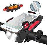 Generic Fahrradlichter 5 in 1 Funktionales wiederaufladbares Fahrradlicht Set mit...