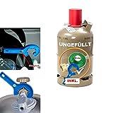 CAGO Propan-Gas-Flasche 5kg grau leer Neuflasche mit Camping Gas-Druck-Regler 50 mbar,...