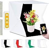 Fotobox, Fotozelt Lichtzelt 40x40 cm mit 3 Lichtfarben 140 LED Mini Mobiles tragbare...