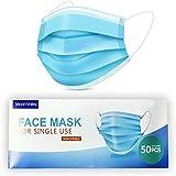Moon-Valley 50 Stück Mundschutz Einwegmaske Mundschutzmasken 3 Schichten Masken Einweg...