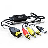 Jmday HDMI auf Composite AV 3 RCA CVBS Video Audio Konverter Adapter Kabel 720p 1080p Upscaler mit USB Ladekabel für TV PC PS4 DVD VHS VCR Kamera