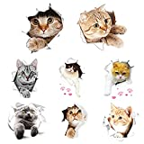 Swetup Wandtattoo, 8 Stück 3D Katzen Wandsticker Süße Sticker Kombination Wandaufkleber...